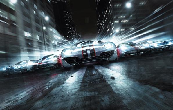 Картинка дорога, машины, трасса, дома, гонки, асвальт, GRID 2, Codemasters Racing Studios