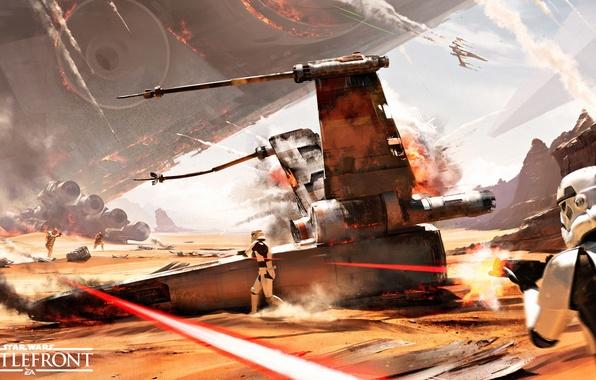 Картинка небо, лучи, взрыв, пустыня, дым, корабль, бой, лого, шлем, броня, logo, штурмовики, Electronic Arts, бластеры, ...