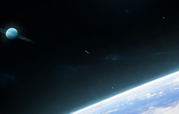 Картинка космос, планета, кольца, звёзды, комета