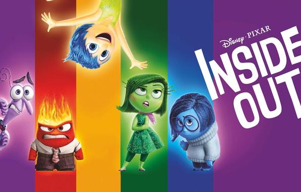 Картинка фиолетовый, цвета, синий, желтый, красный, зеленый, эмоции, мультфильм, Disney, Страх, Pixar, Головоломка, постер, персонажи, Радость, …