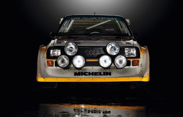 Картинка Audi, Отражение, Машина, Фары, Quattro, Rally, Sport, Передок