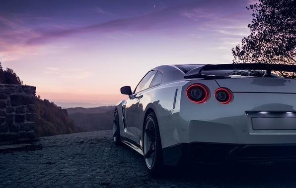 Картинка GTR, Moon, Nissan, Sky, Lights, White, R35, Spoiler, Rear, Nigth