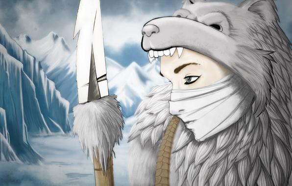 Картинка холод, зима, взгляд, снег, лицо, оружие, копье, охотник, шкура медведя