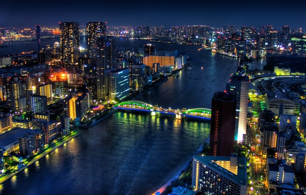 Картинка ночь, город, токио