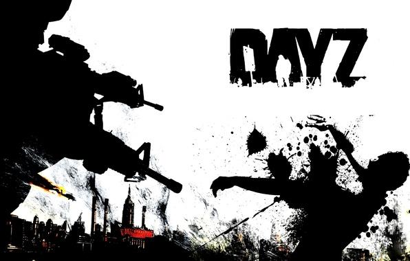 Картинка небо, оружие, война, кровь, черно белый, день, зомби, zombie, выживание, DayZ, arma2, день зет, day ...