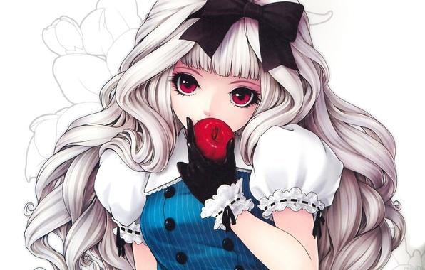 Картинка девушка, цветы, фон, узор, желание, яблоко, кукла, блондинка, бант, красные глаза, перчатка, локоны, искушение, куколка, …