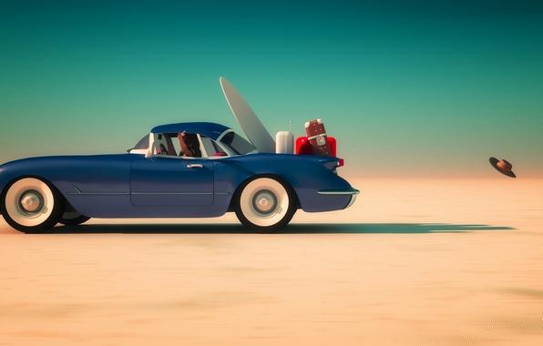 Фото обои синий, горизонт, небо, солнце, чемоданы, песок, автомобиль, пустыня, скорость, багаж, мяч, шляпа