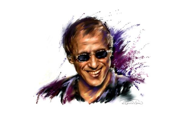Картинка улыбка, рисунок, очки, актер, певец, адриано челентано, Adriano Celentano