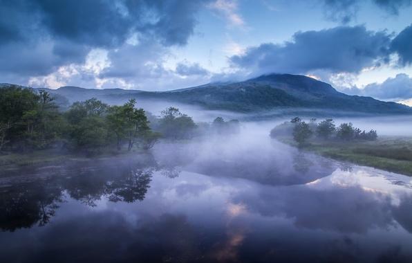 Картинка горы, туман, река, холмы, Англия, утро, England, Уэльс, Wales, Река Гласлин, Afon Glaslyn