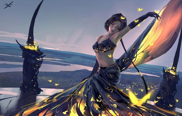 Картинка девушка, бабочки, пейзаж, арт, wlop, ghostblade