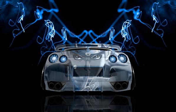 Картинка Дизайн, Стиль, Ниссан, Обои, GTR, Аниме, Nissan, Anime, Blue, Photoshop, Фотошоп, Design, Синие, Neon, Back, …