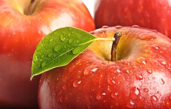 Картинка капли, макро, красное, листок, яблоко, фрукты