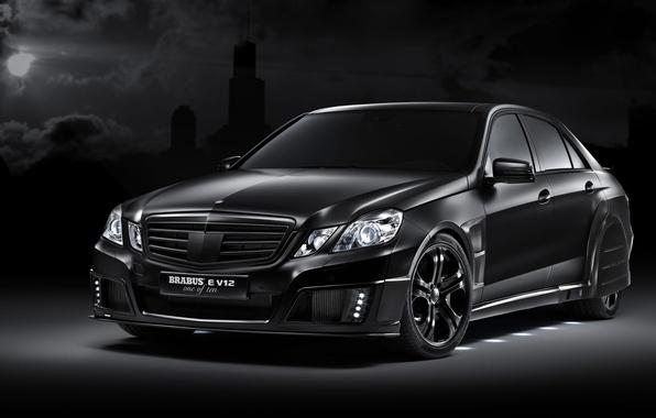 Картинка черный, тюнинг, Mercedes-Benz, E V12, Brabus