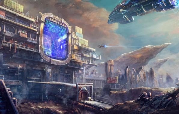 Картинка город, будущее, скалы, транспорт, корабли, портал, арт, врата
