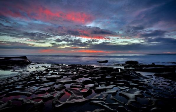 Картинка пляж, камни, океан, берег, California, San Diego, расвет, La Jolla beach