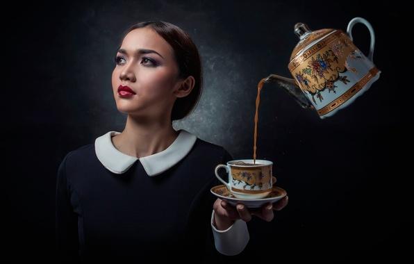 Картинка девушка, чайник, чашка, напиток, блюдце