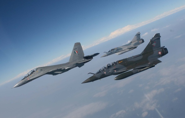 Картинка Небо, Облака, Фото, Полет, Истребитель, Высота, 2000, ВВС, Многоцелевой, Су-30, Сухой, Mirage, Французский, Dassault, Мираж, …
