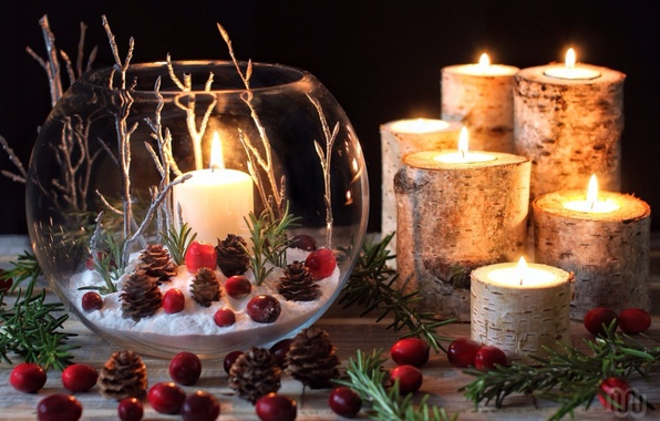 Картинка ветки, свечи, шишки, композиция, клюква