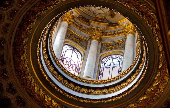 Картинка окна, Рим, Италия, колонны, купол, религия, базилика Сан-Луиджи-деи-Франчези