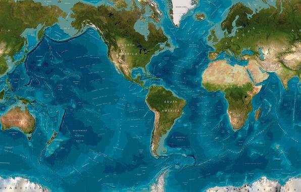 Картинка мир, карта, материки, океаны
