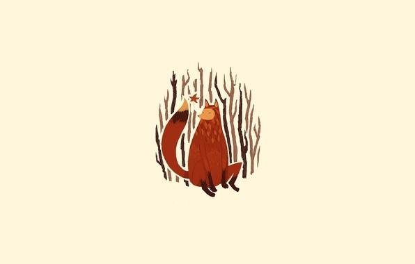 Картинка деревья, ветки, рисунок, минимализм, лиса, хвост, рыжая, иллюстрация, сучья