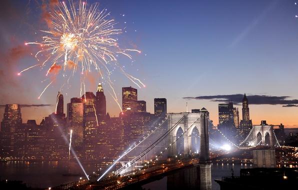 Картинка мост, салют, фейерверк, USA, Америка, Нью Йорк, New York, Brooklyn Bridge, Fireworks