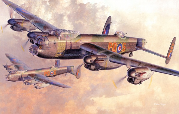Картинка небо, солнце, облака, рисунок, арт, бомбардировщики, самолёты, WW2, британские, четырехмоторные, Stirling, Short