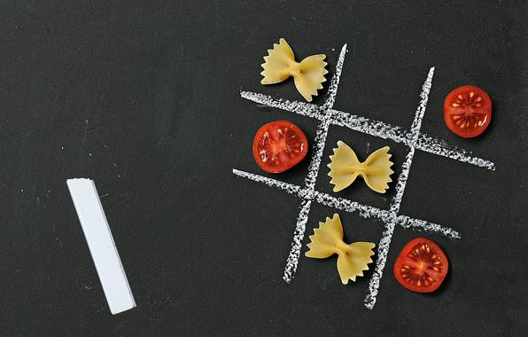Картинка помидор, мел, макарон