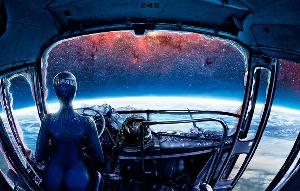 Картинка космос, фантастика, земля, планета, art, Romantically Apocalyptic, alexiuss, Zee Captain