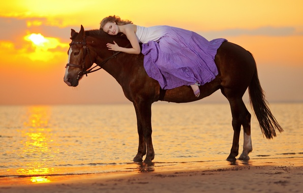 Картинка море, девушка, закат, побережье, лошадь