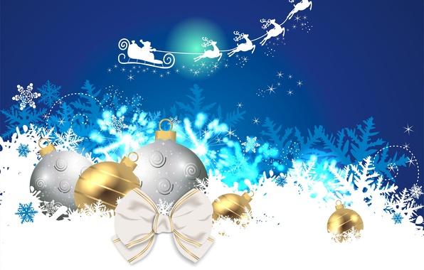 Картинка снежинки, игрушки, новый год, сани, олени