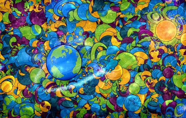 Картинка космос, земля, корабль, цвет, планета, ракета, сатурн
