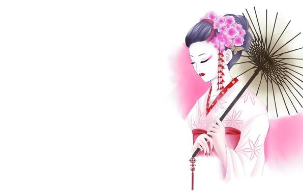 Картинка девушка, цветы, рисунок, зонт, арт, гейша, белый фон, кимоно