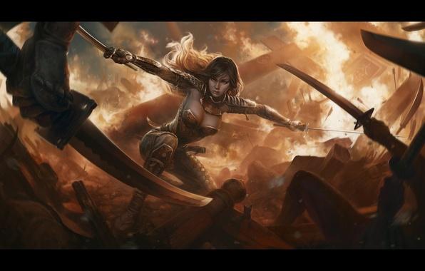 Картинка девушка, оружие, фантастика, огонь, арт, разрушение, нападение, броня, битва, клинки, George Redreev
