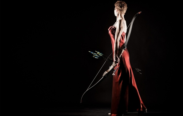 Картинка девушка, спорт, лук, стрелы