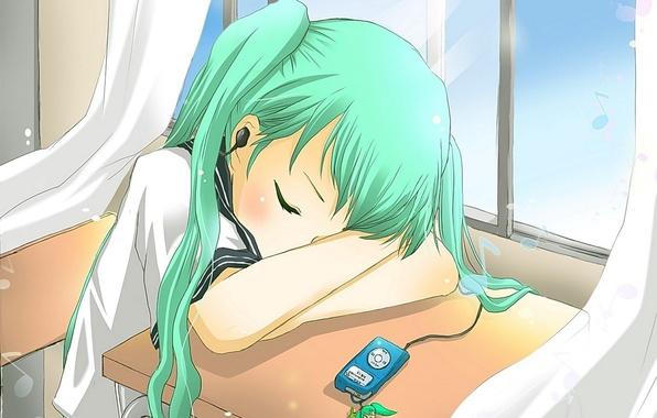 Картинка аниме, наушники, спит, девочка, форма, Вокалоид, Хатсуне Мику