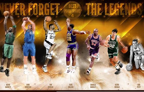 Картинка Спорт, Баскетбол, NBA, Kevin Garnett, Dirk Nowitzki, Tim Duncan, Легенды, Charles Barkley, Kevin Mchale, Bob …