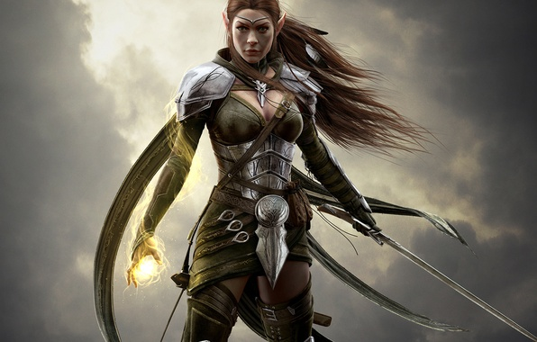 Картинка небо, взгляд, девушка, тучи, волосы, меч, доспехи, воин, маг, броня, Эльф, Bethesda Softworks, ZeniMax Online …