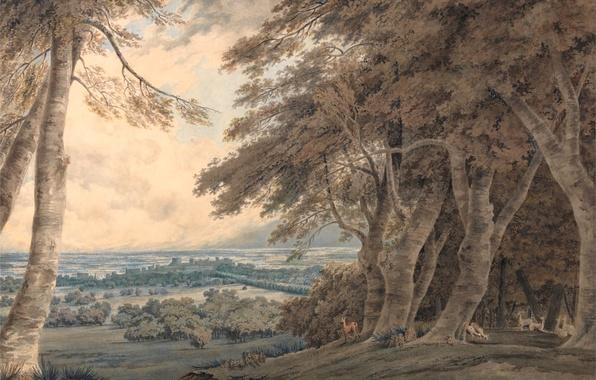 Картинка животные, деревья, пейзаж, холмы, картина, акварель, Windsor, Уильям Тёрнер