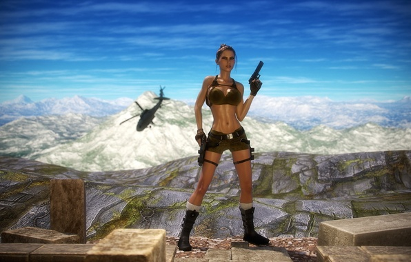 Картинка грудь, девушка, горы, пистолет, тело, арт, вертолет, lara croft, tomb raider