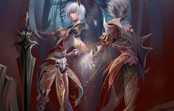 Картинка девушка, скала, камни, магия, эльф, меч, арт, парень, Anastasia Bulgakova