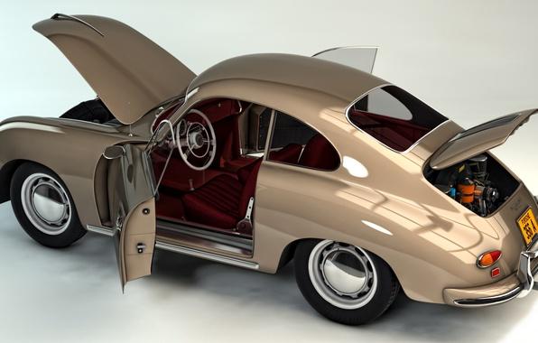 Картинка авто, абстракция, легкий, арт, автомобиль, спортивный, двухдверный, быстрый, wallpaper., заднеприводный, Порше 356 A, Porsche 356 ...