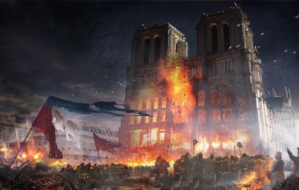 Фото обои Notre Dame, здание, Assassins creed Unity, франци, париж, город