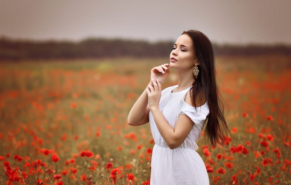 Картинка девушка, милая, белое, нежность, серьги, платье, брюнетка, красивая, симпатичная, beauty, длинноволосая, украинка, маковое поле, Ангелина …