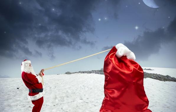Картинка зима, небо, звезды, снег, ночь, красный, праздник, подарок, луна, новый год, ситуация, юмор, веревка, Санта …