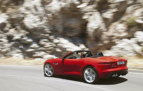 Картинка движение, поворот, ягуар, кабриолет, вид сбоку, красная, jaguar, f-type