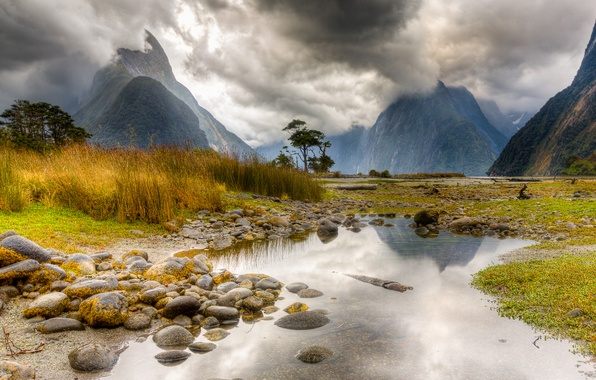 Картинка mountain, lake, new zealand, milford sound