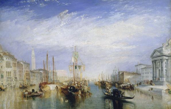Картинка море, дома, картина, лодки, канал, Venice, городской пейзаж, Уильям Тёрнер, from the Porch of Madonna …
