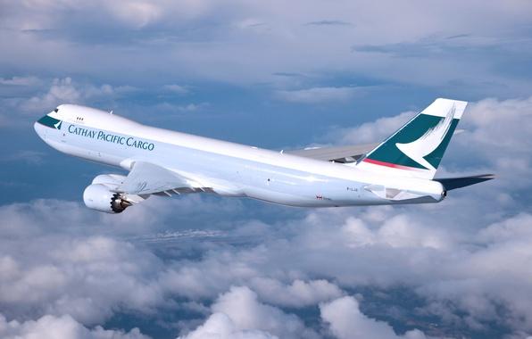 Картинка Облака, Самолет, Крылья, Boeing, Авиация, 747, В Воздухе, Летит, Cathay Pacific