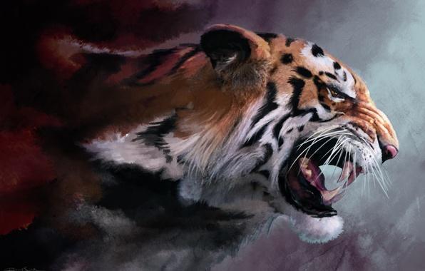Картинка кошка, тигр, рендеринг, рисунок, ярость, клыки